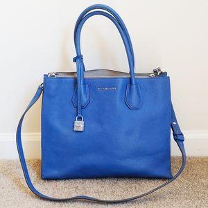 Michael Kors Large Blue Mercer Tote Satchel Bag